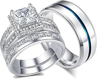 AHLOE مجوهرات الأميرة خاتم الزفاف له و النساء الرجال التيتانيوم الفولاذ المقاوم للصدأ العصابات 3.0Ct Cz 18k الذهب زوجين خواتم