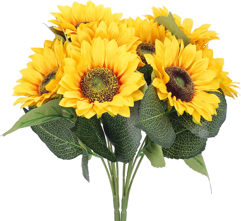 DWANCE 2pcs Flores Artificial Girasol Ramo de Girasol de Seda Falsa Amarillo Decoración para Hogar Cocina Balcon Mesa Terraza Jardin Baño Fiesta Boda
