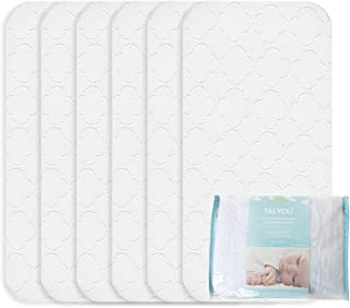 TILLYOU Thicker Quilted Changing Pad Liners Waterproof, Ultra Soft Breathable Changing Table Cover Liners, Washable Reusable Changing Mats Sheet Protector, 6 Pack