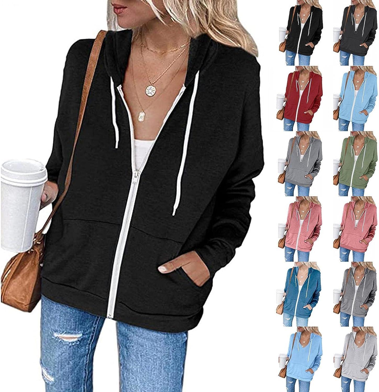 ORT Hoodies for Women Zip up, Womens Hoodie Long Sleeve Striped Lightweight Pullover Sweatshirt Casual Tunic Jacket