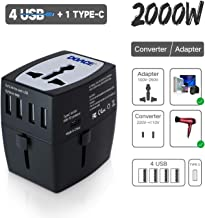 2019 Upgraded DOACE M9 2000W Travel Voltage Converter 220V to 110V for Hair Dryer Steam Iron, 10A Universal Power Adapter with International Plugs and 4-USB and PD Charger for Laptop Camera Cell Phone