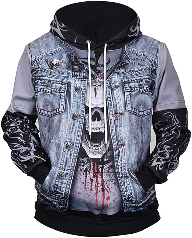 AASSDD Sweatshirts Men Women 3D Print Fake Skull Jacket