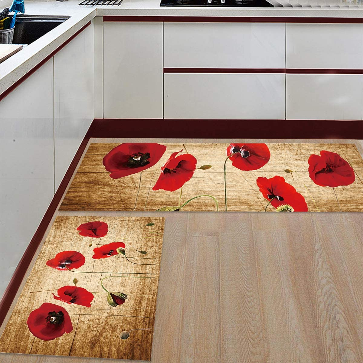 TAKEMEHOME Kitchen Rug In stock 2 Piece Skid Non Red Floor Absorbent 40% OFF Cheap Sale
