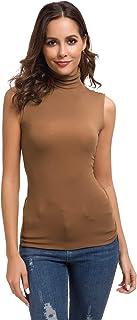 Wosalba Women Sleeveless Mock Turtleneck Pullover Plain Slim Fit T Shirt Top