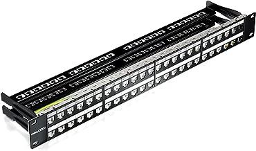 deleyCON 48 Puertos Patch Panel Modular para Módulos RJ45 Keystone 1U (1HE) 19 Pulgadas el Montaje en Rack Compatible CAT5 CAT6 CAT7 LAN Red Negro