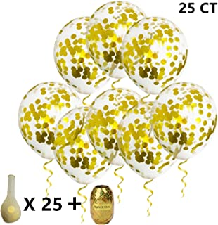 25pcs Gold Confetti Balloons Helium Balloons - 12 Inch Clear Latex Balloons with Gold Shining Confettis and Gold Curling Ribbon - Decoration for Birthday Wedding Baby Shower Christmas Photo Shoot