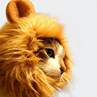 AYOGU1 Lion Mane Wig Costume for Cat Halloween Dress with Ears Pet Festival Party Fancy Hair Cat Clothes