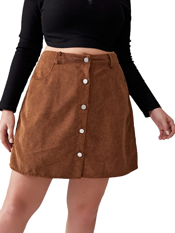 Milumia Women's Plus Size Corduroy Skirt with Pocket Button Front Short Skirt