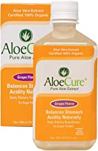 AloeCure® Pure Aloe Vera for Bouts of Acid Reflux, Heartburn, Upset Stomach, and More (Grape Flavor 1 Month Supply), Never from Concentrate or Made from Powder, 98.7% Pure Organic Aloe Vera