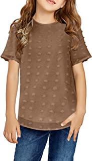 Sidefeel Girl Cute Short Sleeve Chiffon Blouses Loose Casual Crewneck Shirts Tops 4-13 Years