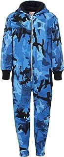 Kids Girls Boys Plain Fleece Hooded A2Z Onesie One Piece All in One Jumpsuit2-13 Camo Blue