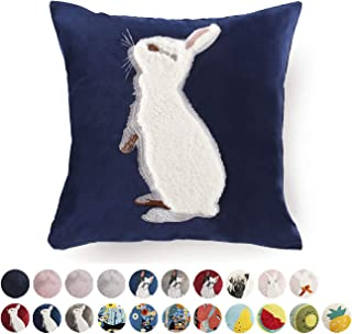 Luxury Velvet Throw Pillow Covers Decorative Easter Rabbit Square Cushion Cover for Sofa Couch Modern Bunny Pillowcases 18x18 Inch