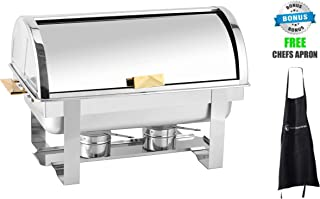 Roll Top Stainless Steel Chafing Dishes by ChefMaid (8qt Gold Accent Chafing Dish)