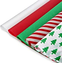 """Blisstime Christmas Tissue Paper Gift Wrapping Paper, 120 Sheets, 13.8"""" X 19.7"""", White, Red, Green, Red Stripe, Christmas ..."""