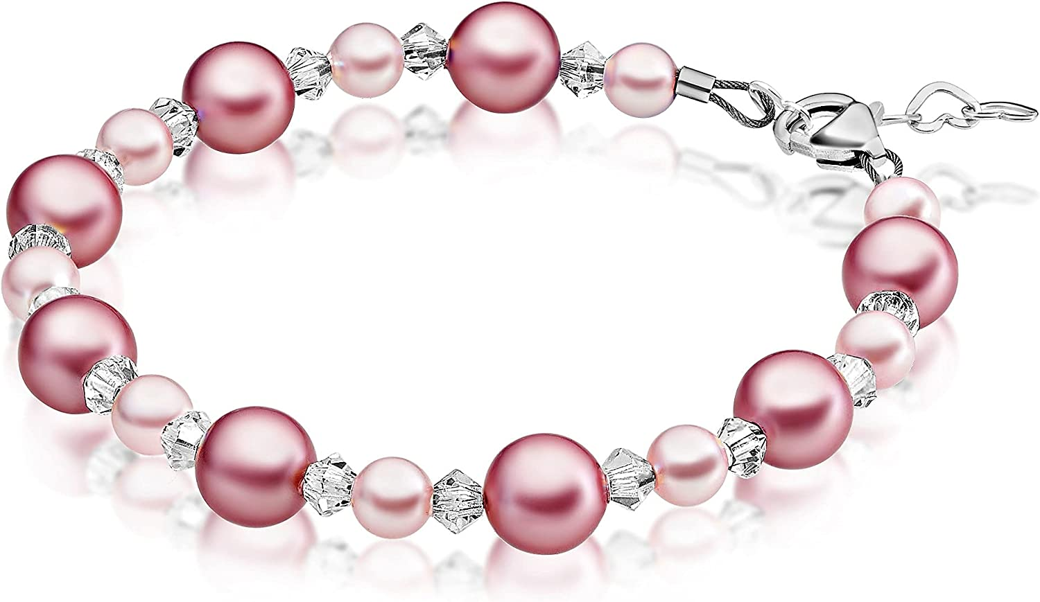 Pretty Sterling Silver Pearl Bracelets for P with and Girls Cheap Rose safety