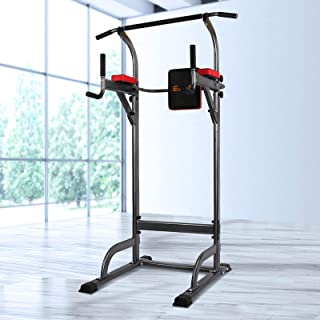 Everfit Weight Bench Pull-up Tower Dip Bar Station Multi Home Gym Exercise Versatile Workouts Knee Riase Leg Press Height ...