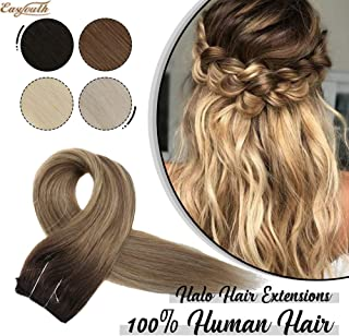 You Shine Halo Style Hair Extensions with Fishing String No Damage No Glue 14inch one Piece Color 3/8/22 Dark Roots to Brown and Blonde Extension