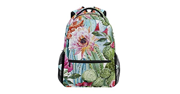 JOKERR Backpack Tropical Cactus Flower Large Capacity Casual Printed Shoulder Bag Daypack Travel Laptop Women Adults Boys Girls