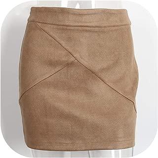 Suede Pencil Skirt Winter Cross high Waist Skirt Zipper Split Bodycon Short Skirts Women