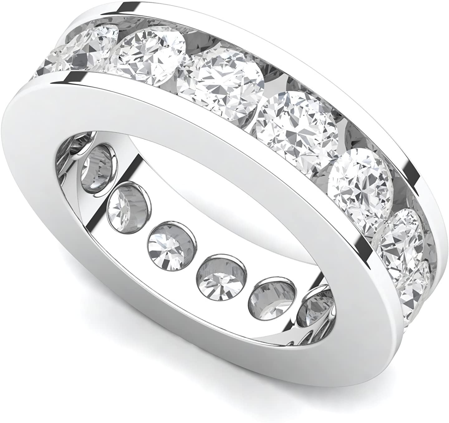 Large special price !! 18k White Gold Channel Al sold out. set Diamond G-H Ring 4 Band VS Eternity