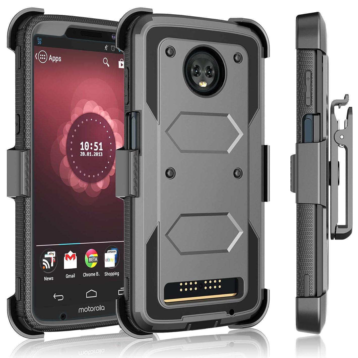 Tekcoo for Motorola Moto Z3 Play Case/Verizon Moto Z3 Holster Clip, [Tshell] [Built-in Screen] Secure Swivel Locking Belt Defender Full Body Kickstand Carrying Armor Cases Cover [Gray]