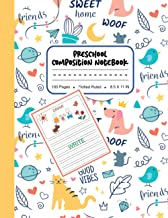 Preschool Composition Notebook: Cute Dogs, Cats, Planets & Birds Pattern Background, My First Draw and Write Journal Dotte...