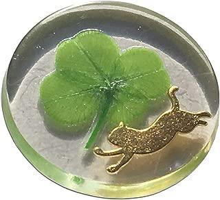 "KIN-HEBI Real Four Leaf Clover Good Luck Pocket Token, Preserved, Including Metal cat Silhouette, 1.25"""