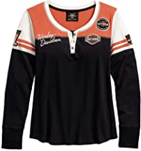 HARLEY-DAVIDSON Official Women's Classic Colorblock Henley, Black