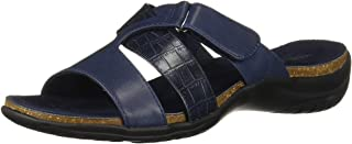 Easy Street Women's Frenzy Casual Sandal with Hook and Loop Closure, Navy Crocodile, 7 M US