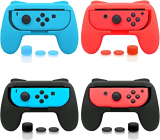 4 Pack FastSnail Joy-Con Grip Kit for Nintendo Switch, Wear-Resistant Joy-con Grip Controller for Switch with 12 Thumb Grip Caps (Black Blue and Red)