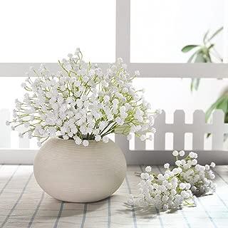 JUSTOYOU 10pcs Babies Breath Flowers Artificial Fake Gypsophila PU Silica for Wedding Bridal Bouquet Home Floral Arrangement White