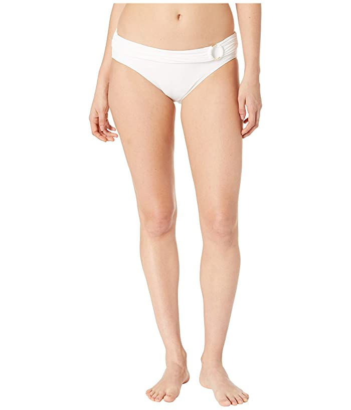 MICHAEL Michael Kors Iconic Solids Logo Ring Bikini Bottoms (White) Women