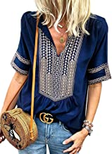 FARYSAYS Women's Summer Boho Embroidered V Neck Short Sleeve Casual T-Shirt Tops Loose Blouse