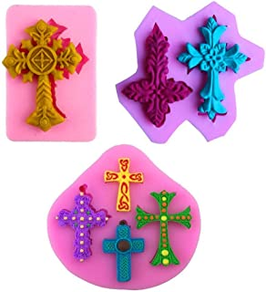 Mity Rain Cross Shape Cake Fondant Mold,Baptism Cake/Cupcake Decoration Supplies Clay Fimo Mold Candy Silicone Mold Chocolate Mold