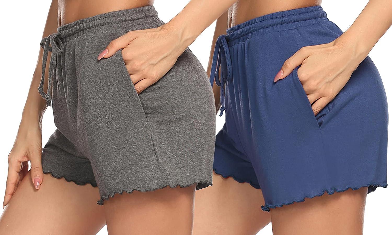 Ekouaer 2 Pack Women Pajama Shorts Comfy Lounge Bottom with Pockets Stretch Sleepwear Drawstring Pj Shorts