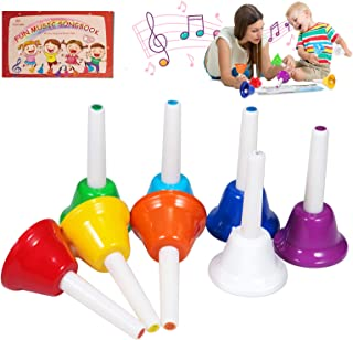 زنگوله ها ، 8 عدد زنگ دستی موزیکال با 10 ساز کتاب کوبه ای آواز موسیقی کوبه ای برای کودکان نوپا کودکان بزرگسالان برای مدرسه فعالیت های خانوادگی و کلیسا ، توسط TantivyBo