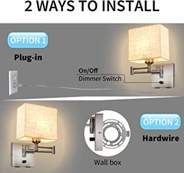Alta Ilumina Wall Sconces 7.1 inch Dimmable Freely, Wall Lamp with 2 USB Port, Swing Arm Freely, Plug in Wall Sconce, Wall La