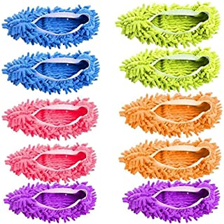 5 Pairs Washable Dust Mop Slippers Microfiber Cleaning Mop Slippers Shoes Dust Floor Cleaner Multi-Function Floor Cleaning...