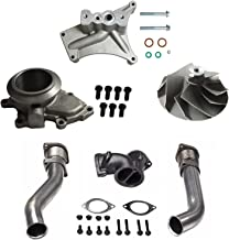 yjracing Bellowed Up Pipes, Exhaust Housing & Turbo Pedestal Kit W/Compressor Wheel Fit for 99.5-03 Ford 7.3 Powerstroke Diesel