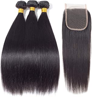 Amberhair Brazilian Straight Hair with Closure 8A Brazilian Virgin Hair Straight Bundles with Closure Human Hair 3 Bundles and Closure (14 16 18 + 14)