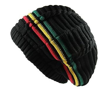 RW 100% Cotton Classic Rasta Slouchy Ribbed Beanie Hats