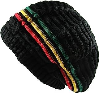 35ae37a9097 RW 100% Cotton Classic Rasta Slouchy Ribbed Beanie Hats