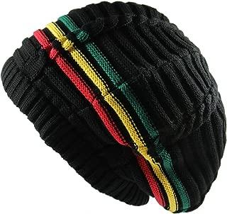 100% Cotton Classic Rasta Slouchy Ribbed Beanie Hats