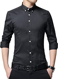 XTAPAN Men's Long Sleeve Casual Slim Fit Business Button Down Dress Shirt