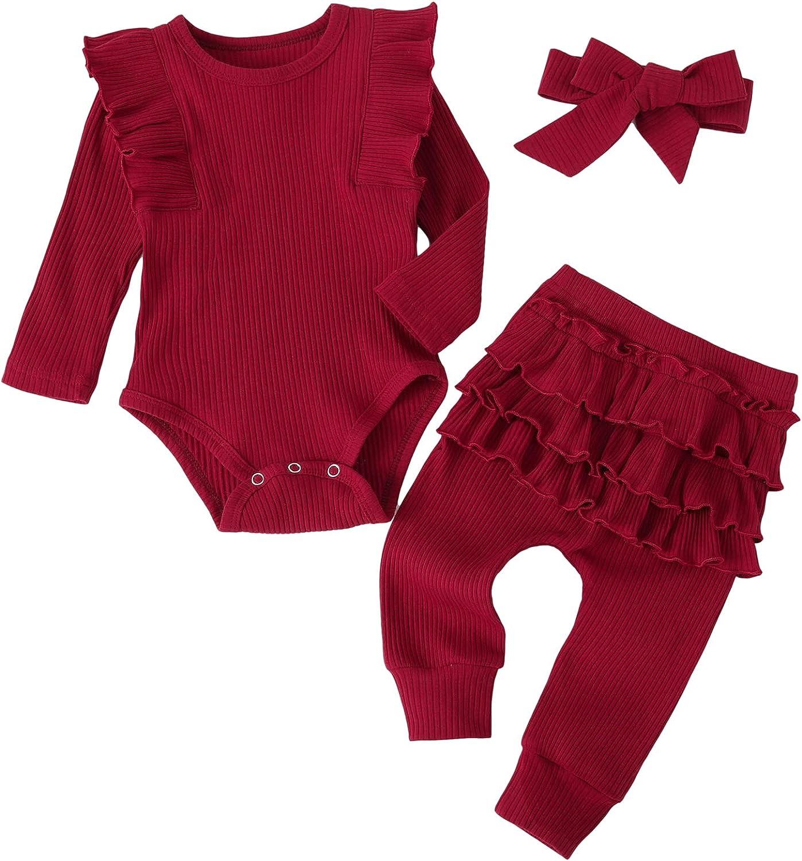 Baby Girls' 3 PCS Pants Set Ruffles Outfits Long Sleeves Romper + Pants + Headband Clothing Set for 0-24 M