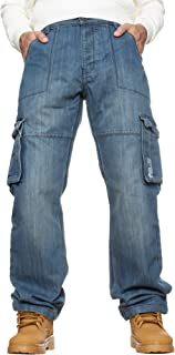 Enzo Mens Combat Jeans Casual Cargo Work Pants Denim Trousers Big Tall All Waists