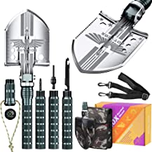 """COTTEOX Survival Folding Camping Shovel 37.8"""" Lengthened Handle Larger Thicker Shovelhead Tactical Multitool with Storage ..."""