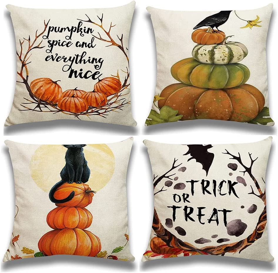 RABUIT Fall Halloween Pumpkin Pillow Covers Max 52% OFF 18x18 of Inches Super Special SALE held Set