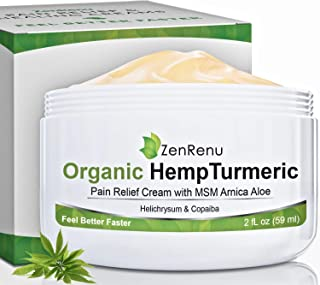Organic Hemp Pain Relief Cream by ZenRenu - MSM Turmeric Arnica Salve - Hemp Oil Hemp Extract for Pain Cream