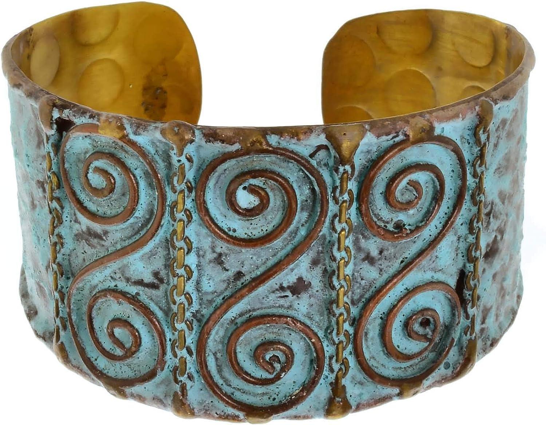 Anju Patina Cuff with Brass and Copper Swirls Adjustable Bracelet